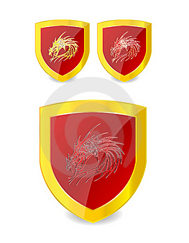 Dragons Set On The Emblem Gold And Red Color Stock Photos - Image: 19757803