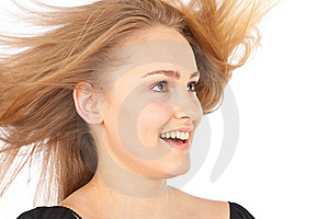 Joyful Young Woman With Waving Hair Stock Photography - Image: 19765152