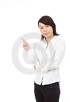 Portrait Of Young Asian Business Woman Pointing Stock Photo - Image: 19765870