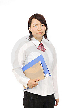 Young Asian Businesswoman Holding File Document Stock Photo - Image: 19765900