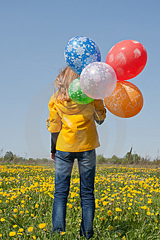 Woman With Lots Of Balloons Stock Image - Image: 19768661