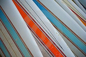 Row Of Striped Surfboards Stock Photography - Image: 19772962