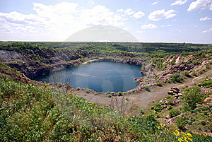 Blue Lake In Open Pit Royalty Free Stock Photos - Image: 19774598
