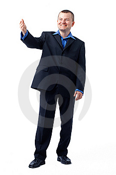 Businessman Gesturing In Blue Shirt. Royalty Free Stock Photo - Image: 19778455