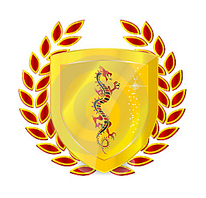 Heraldic Gold And Red Emblem Stock Image - Image: 19778461