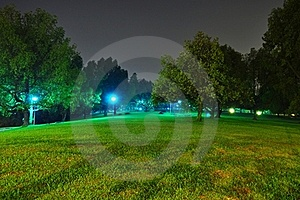 Peaceful Park By Night Royalty Free Stock Photo - Image: 19779845