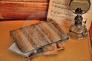 Old Photos And Album On Beige Background Royalty Free Stock Images - Image: 19779849