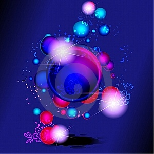 Dark Vibrant Banner With Bubbles And Flowers Stock Photos - Image: 19781303