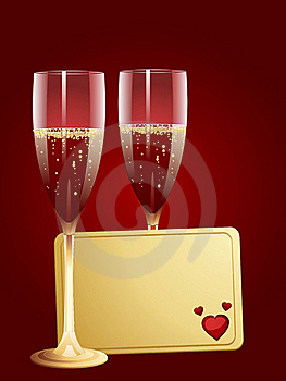 Champagne And Valentine Message Tag Royalty Free Stock Images - Image: 19781629