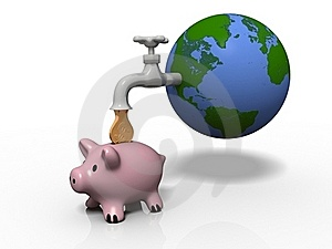 Money Drop From Earth Through A Faucet Stock Photography - Image: 19783062