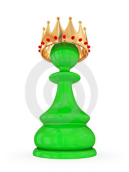 Green Pawn With A Large Golden Crown. Royalty Free Stock Image - Image: 19783796
