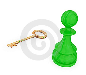 Green Pawn Near Golden Antique Key. Royalty Free Stock Images - Image: 19783799