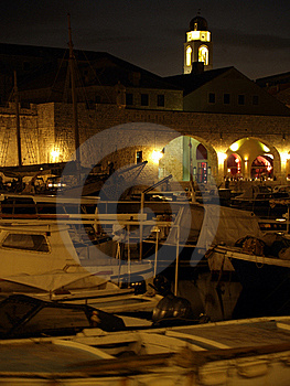 Dubrovnik Harbor At Night Royalty Free Stock Image - Image: 19784056