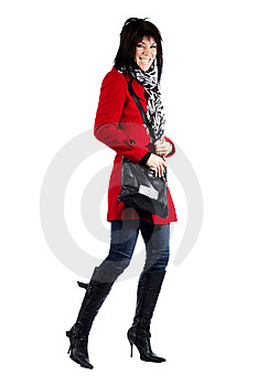 Woman In Red Coat Excited Royalty Free Stock Image - Image: 19785586