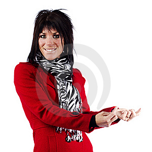 Woman In Red Coat Gesturing Stock Images - Image: 19785594
