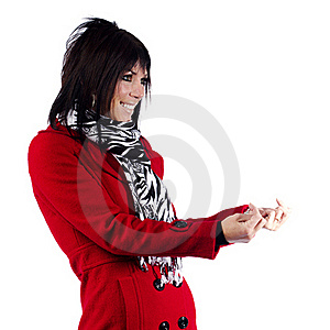 Woman In Red Coat Gesturing Royalty Free Stock Photo - Image: 19785595
