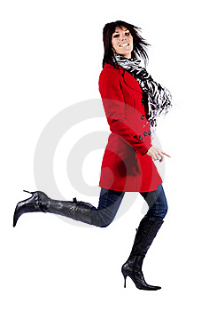 Woman In Red Coat Leaping Stock Image - Image: 19785601