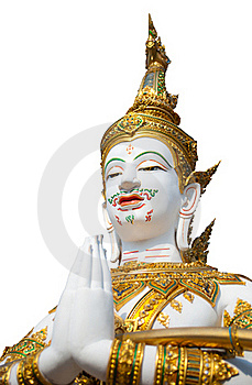 Thai Style Angel Statue On White Background Royalty Free Stock Image - Image: 19791506