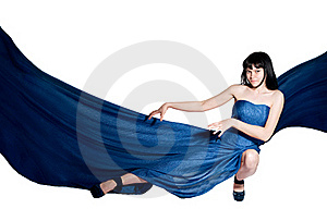 The Woman In A Long Flying Dress Royalty Free Stock Images - Image: 19792229