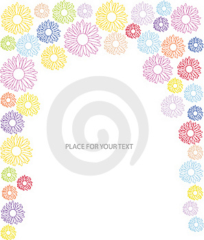 Abstract Frame With Many Color Flower Silhoues Royalty Free Stock Photos - Image: 19795098