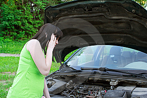 The Girl Speaks By Phone About A Car Stock Photography - Image: 19795512
