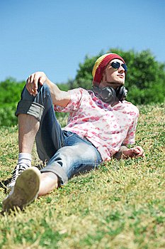 Young Man  Laying On Grass Royalty Free Stock Photos - Image: 19795898