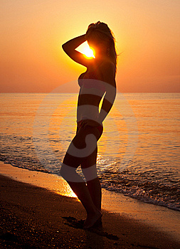 Sunrise Silhouette Of A Woman Royalty Free Stock Image - Image: 19798416