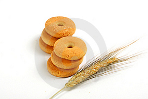 Two Columns Of Biscuits And Ear Stock Photo - Image: 19798580