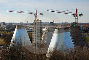 Sewage Plant With Cranes Royalty Free Stock Image - Image: 1986976