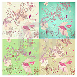 Set Seamless Floral Background Royalty Free Stock Photo - Image: 19803555