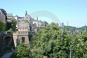 Luxembourg City - Views Old Town With City Wall, Church, Houses  Royalty Free Stock Photos - Image: 19806338
