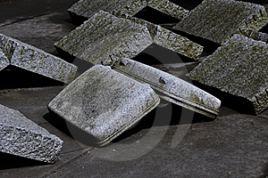 Upside Down Suitcase With Granite Rocks Royalty Free Stock Images - Image: 19809809