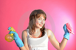 Housewife Isolated On Pink Backgroung Stock Photo - Image: 19812340