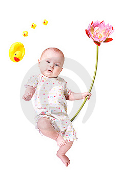 Baby With Big Flower And Toy Ducks Isolated Royalty Free Stock Image - Image: 19821256