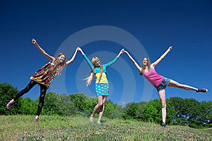 Young Girls Express Positivity Stock Photo - Image: 19824640