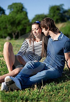 Young Pair Relax In Park Royalty Free Stock Photo - Image: 19824895