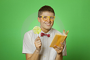 Young Man Bookworm Reading Stock Photo - Image: 19828350