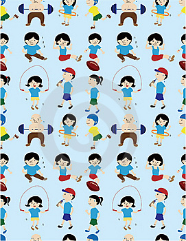 Cartoon Sport People Seamless Pattern Royalty Free Stock Image - Image: 19832496