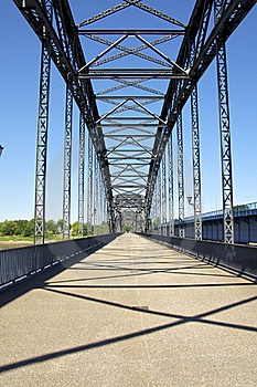 An Old Pedestrian Bridge In The Harbor Stock Image - Image: 19833881