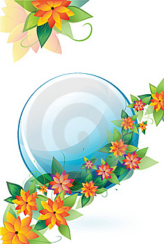 Flowers With A Blue Circle Royalty Free Stock Image - Image: 19837996