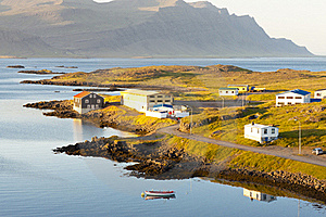 Typical Icelandic Landscape - Djupivogur Village Royalty Free Stock Images - Image: 19840739