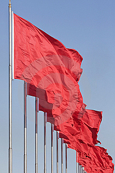 Red Chinese Flags, Symbol Of Communism Stock Photography - Image: 19843832