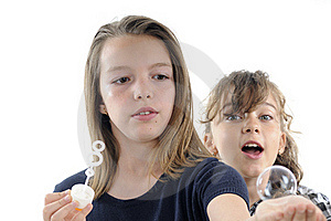 Teens  Playing With Shampoo Bubbles Royalty Free Stock Photo - Image: 19844615