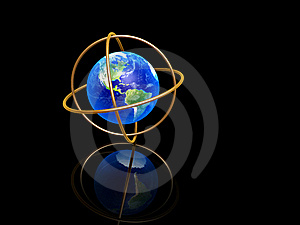 Earth With Longitude And Latitude Rings Royalty Free Stock Images - Image: 19847229