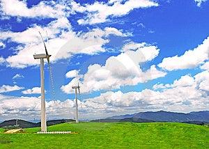 Windmill On  A Plain  Under Blue Stock Photo - Image: 19849020