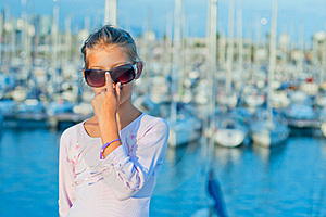 Portrait Of A Girl In The Background Of Yachts Stock Image - Image: 19849901
