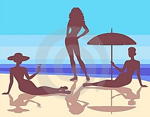 Silhouettes  On The Beach Stock Photography - Image: 19850252
