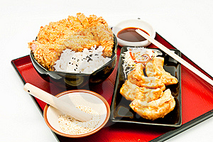 Rice And Fried Pork Cutlet And Fried Dumplings Royalty Free Stock Photography - Image: 19868247