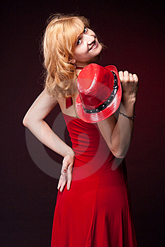 Red-haired Girl In A Red Dress And Red Hat Stock Photo - Image: 19868690