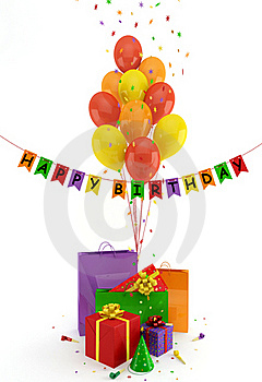Gifts And Balloons Royalty Free Stock Images - Image: 19871559